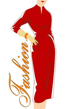 Vintage fashion silhouette of women in red dress