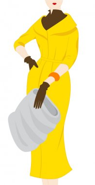 Vintage fashion silhouette of women in yellow coat