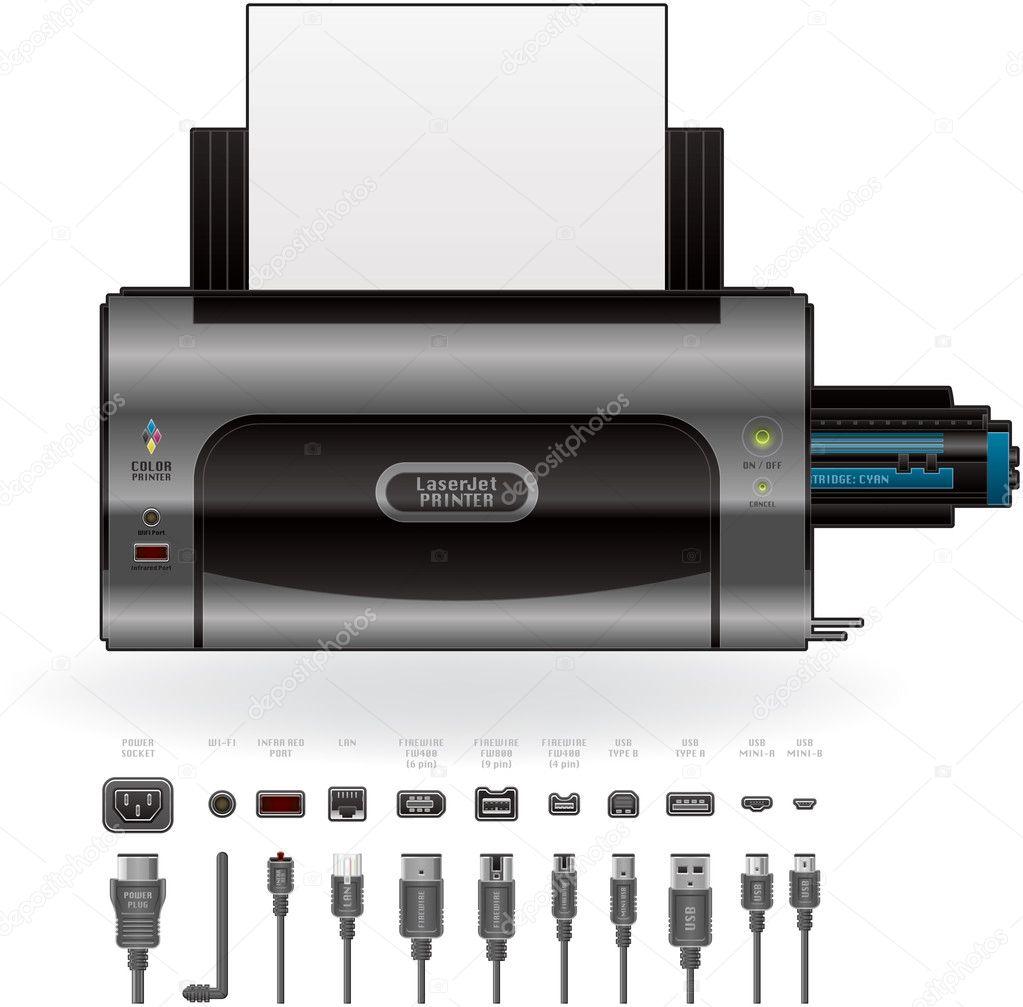 laserjet drucker anschl sse kabel stockvektor 5408061. Black Bedroom Furniture Sets. Home Design Ideas