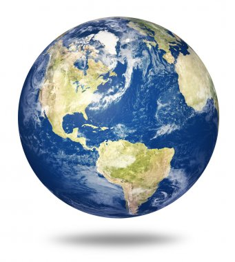 Planet earth on white - America