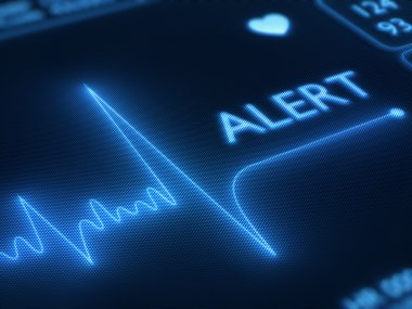Flat line alert on a heart monitor - 3d render on detail pixellated screen stock vector