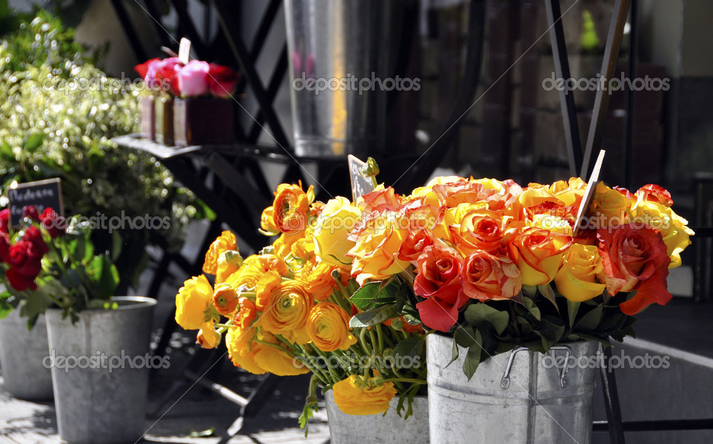 Roses on a florist stall