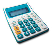 Bílé kalkulačka zelené bílé žluté tlačítko