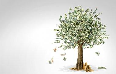 Money tree made of hundred dollar bills, on grey background stock vector