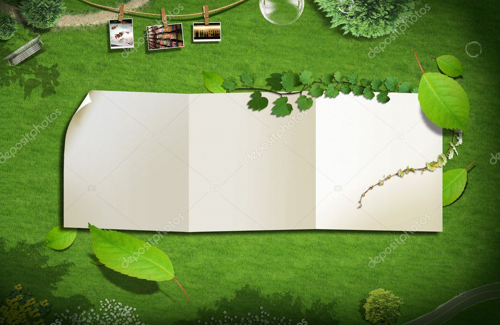 Blank paper on green grass. background concept