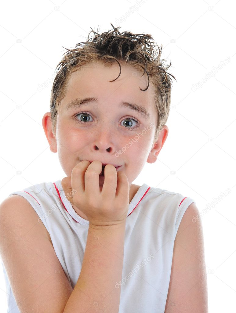Portrait of a frightened boy — Stock Photo © Lebval #5971183