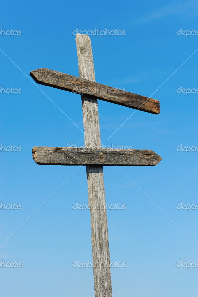 Wooden blank sign post — Stock Photo © Lebval #6718015