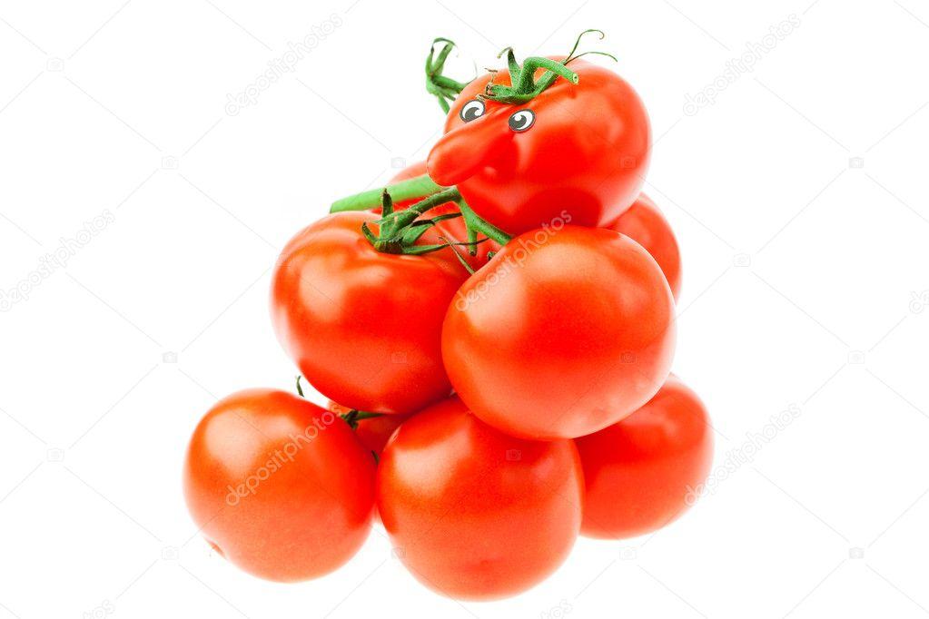 tomaten mit augen liegen auf einem stapel von tomate isoliert auf weiss stockfoto. Black Bedroom Furniture Sets. Home Design Ideas