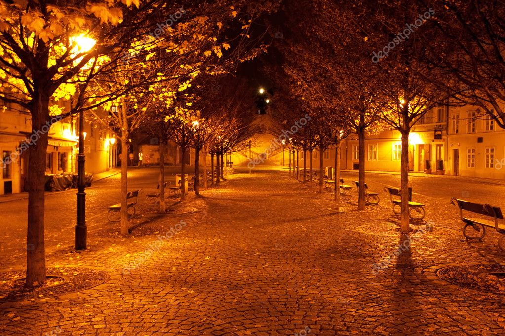 A beautiful night view of the street in Prague