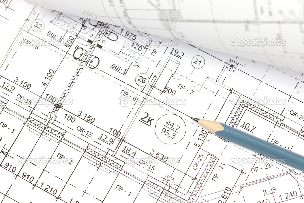 Architectural Drawing Background background of the architectural drawings and pencil — stock photo