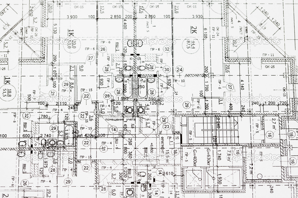 Background Of Architectural Drawing Stock Photo