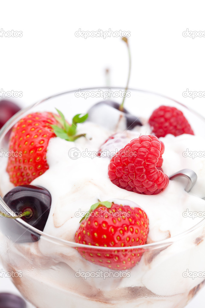 Ice cream, cherries, raspberries and strawberries isolated on wh