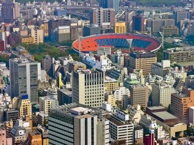 Urban city scape with stadium