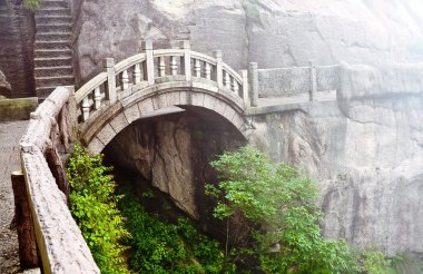 Stone bridge in Huangshan mountains