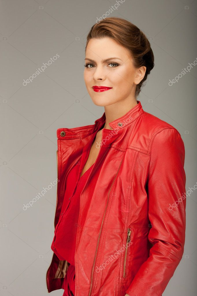 7ff7be561 Lovely woman in red leather jacket — Stock Photo © Syda_Productions ...