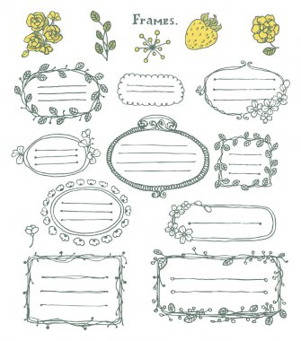Doodle set: collection of hand drawn cartoon frames and floral elements. clip art vector