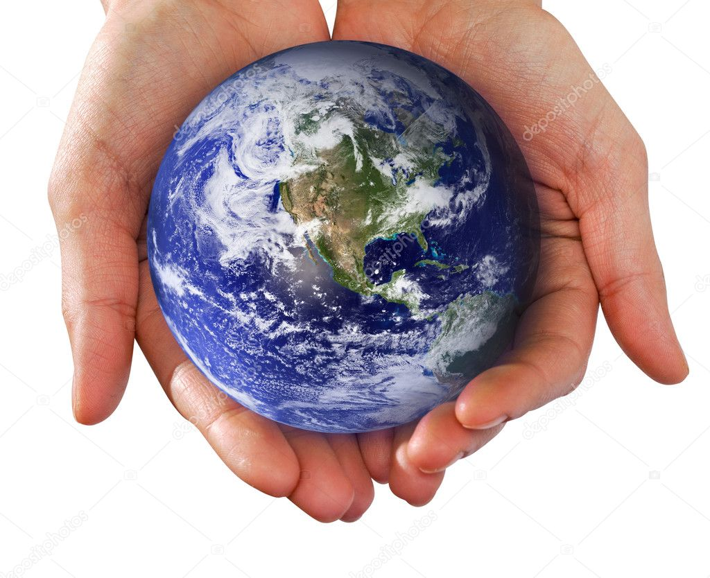 Human Hand Holding the World in Hands