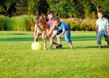 Kids catching the ball