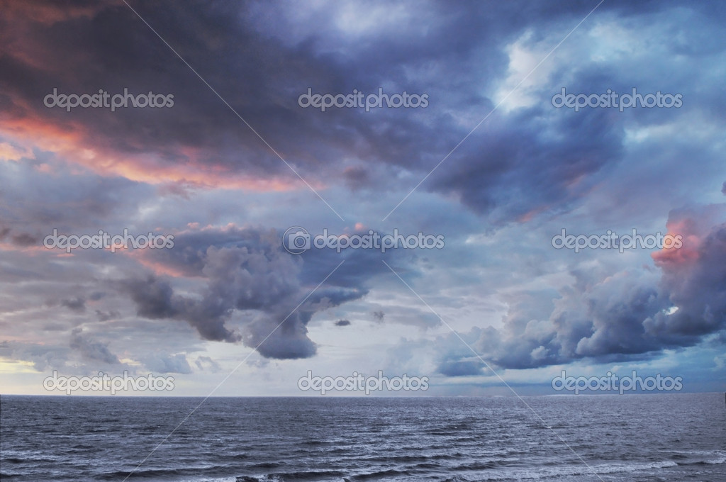Dramatic colorful sky and sea
