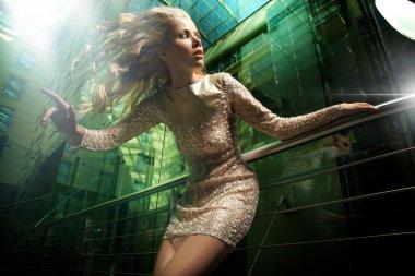 Fashion photo of beautiful blonde lady