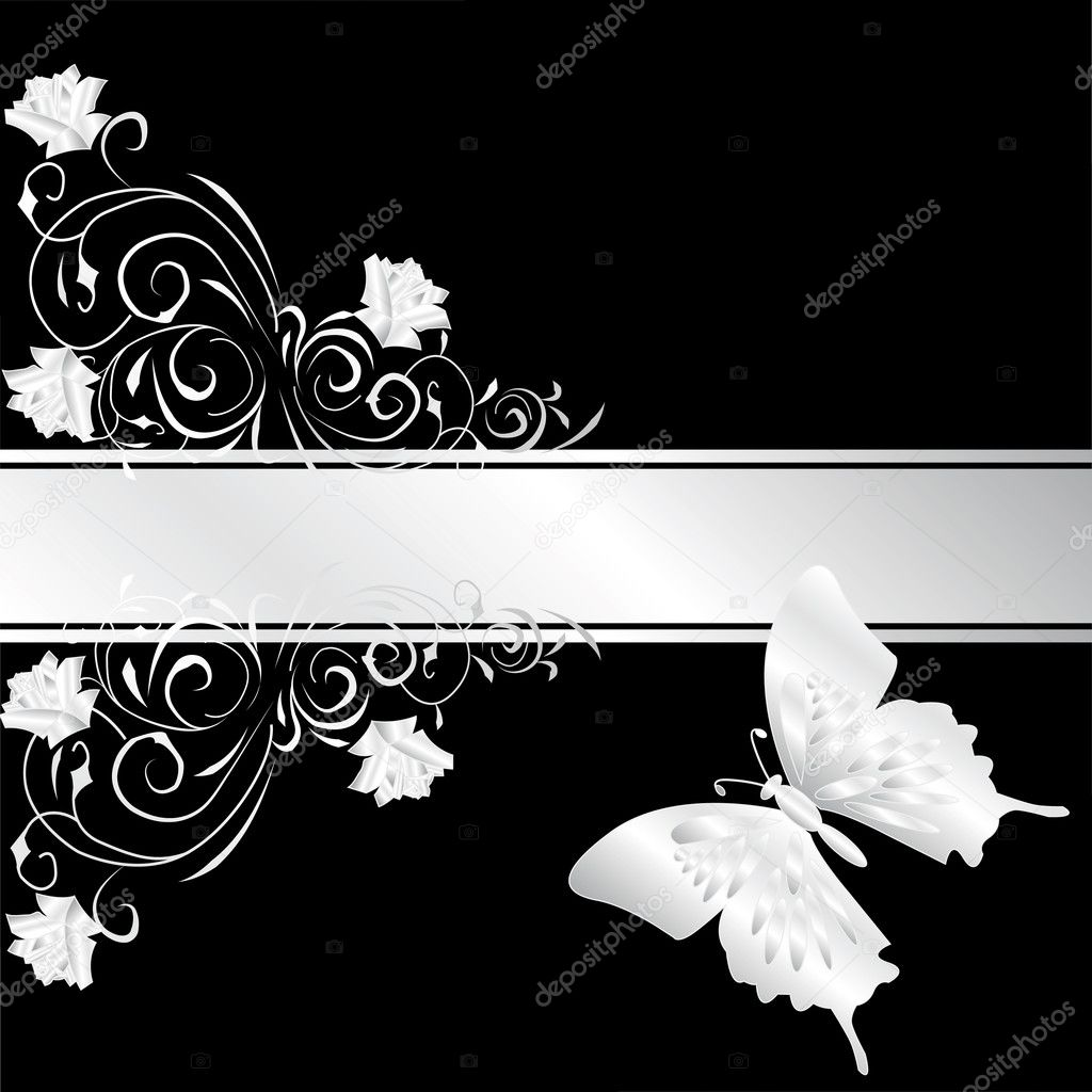 Floral Illustration With Silver Rose On Black Background Vector By Galadon