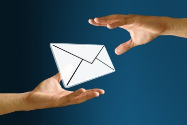 Postman sending mail icon to bearer