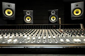 Photo Mixing desk with speakers