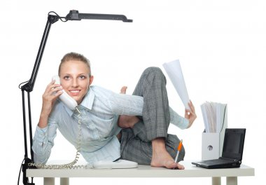 Flexible business woman talk by phone
