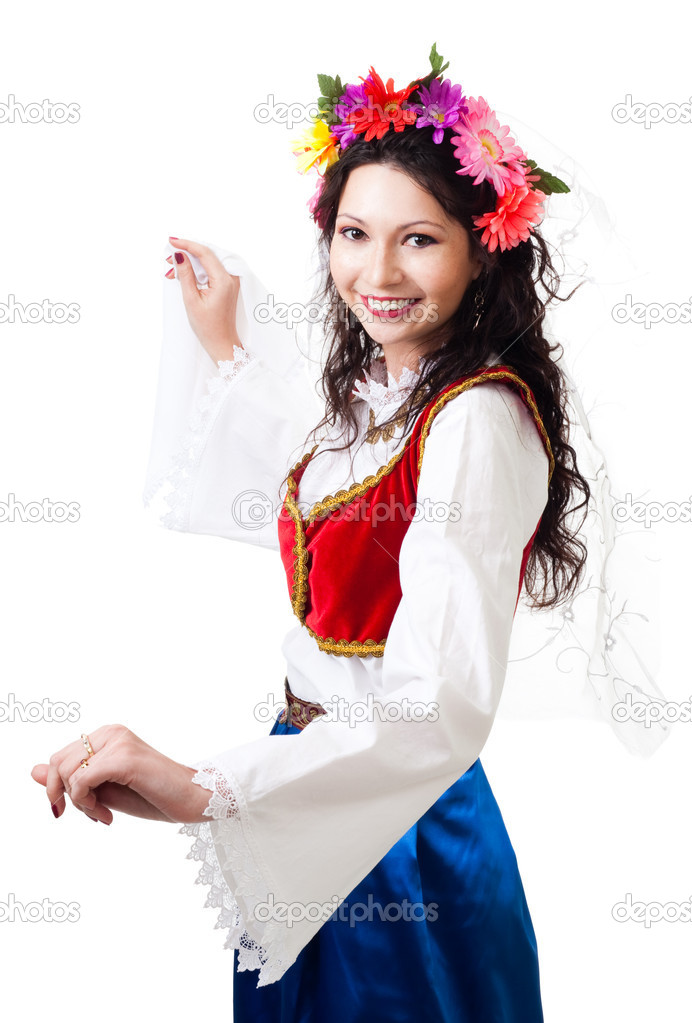 Happy woman in Greek national costume