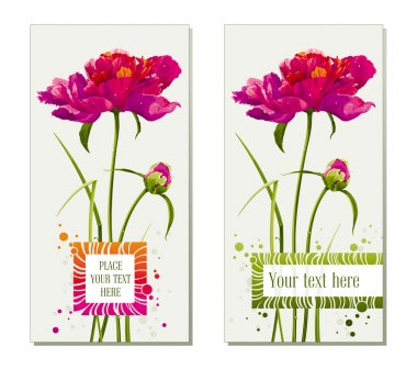 Set of flower greeting cards