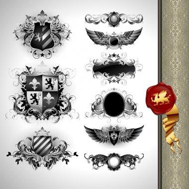 Medieval heraldry shields