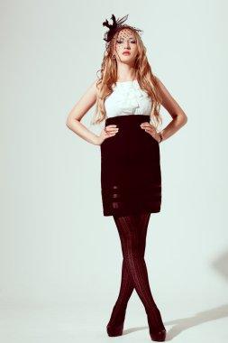 Woman wearing retro syled dress
