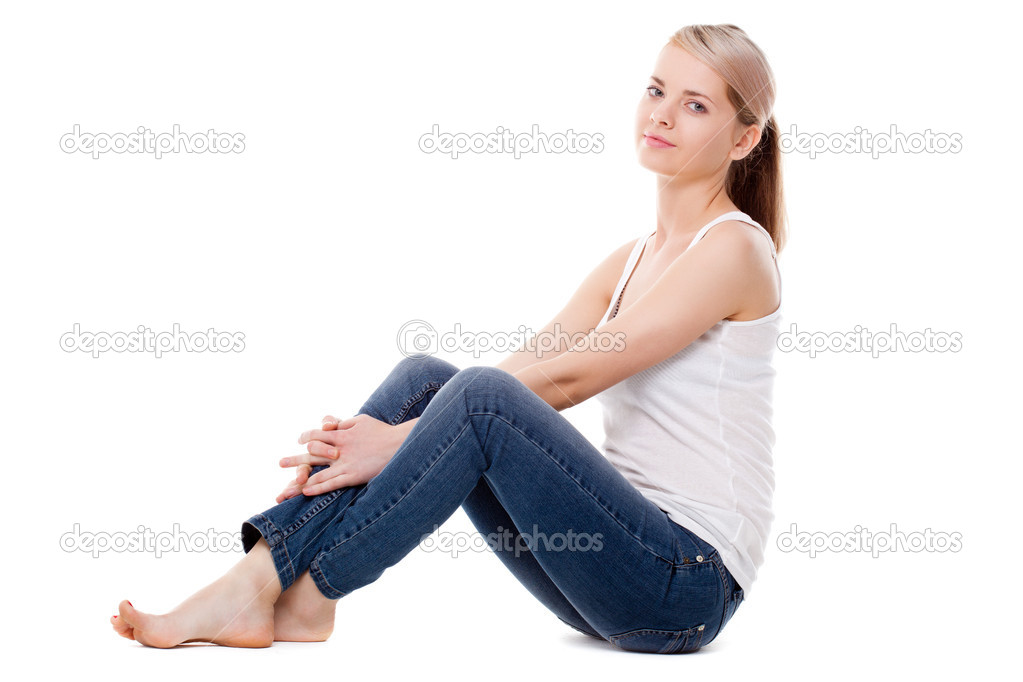 Woman Sitting On The Floor Stock Photo Chesterf 6452898