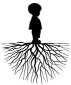 Fotografie die schwarze Silhouette eines Kindes mit Wurzel