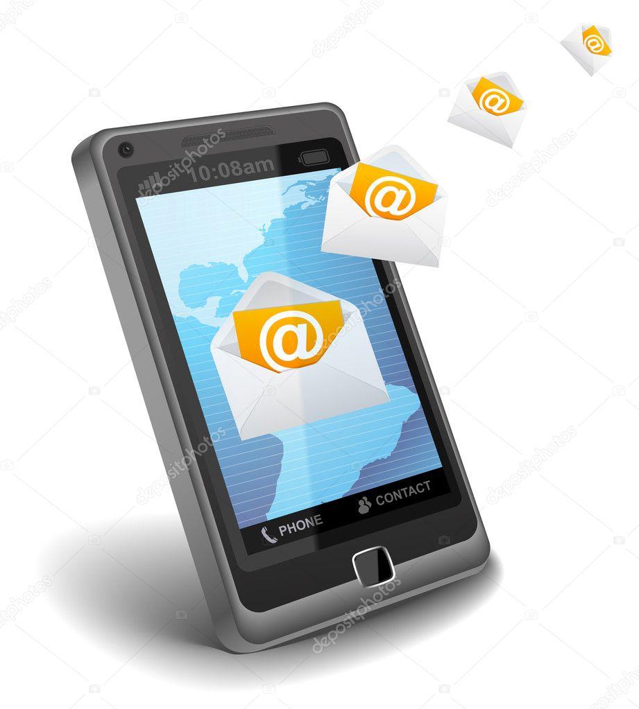 Correo electr nico en el tel fono celular fotos de stock for Telefono oficina de correos