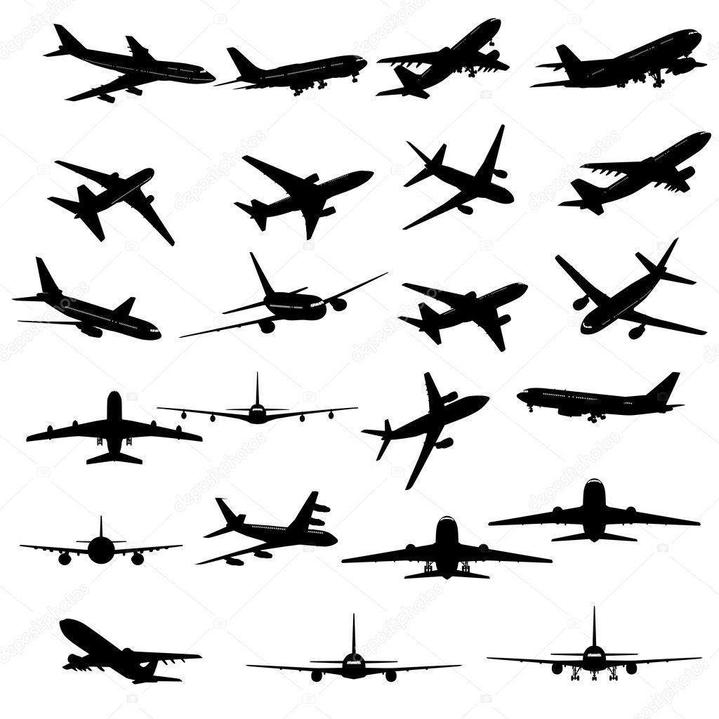 Big collection of different airplane silhouettes. stock vector