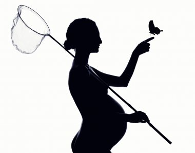 Beautiful silhouette of pregnant woman with a butterfly net
