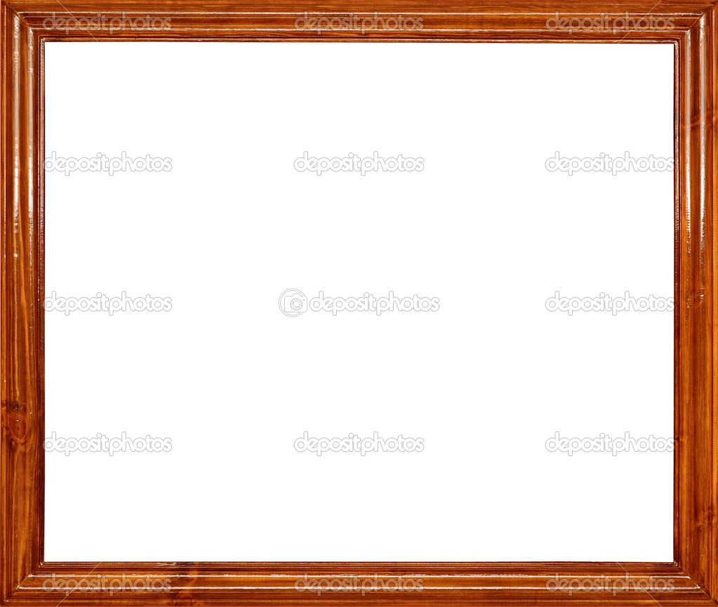 Foto de marco de madera para una foto, aislado en blanco — Fotos de ...