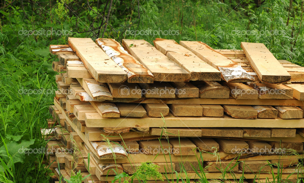 Pattern of cut wood stacks in rectangular formation with green g