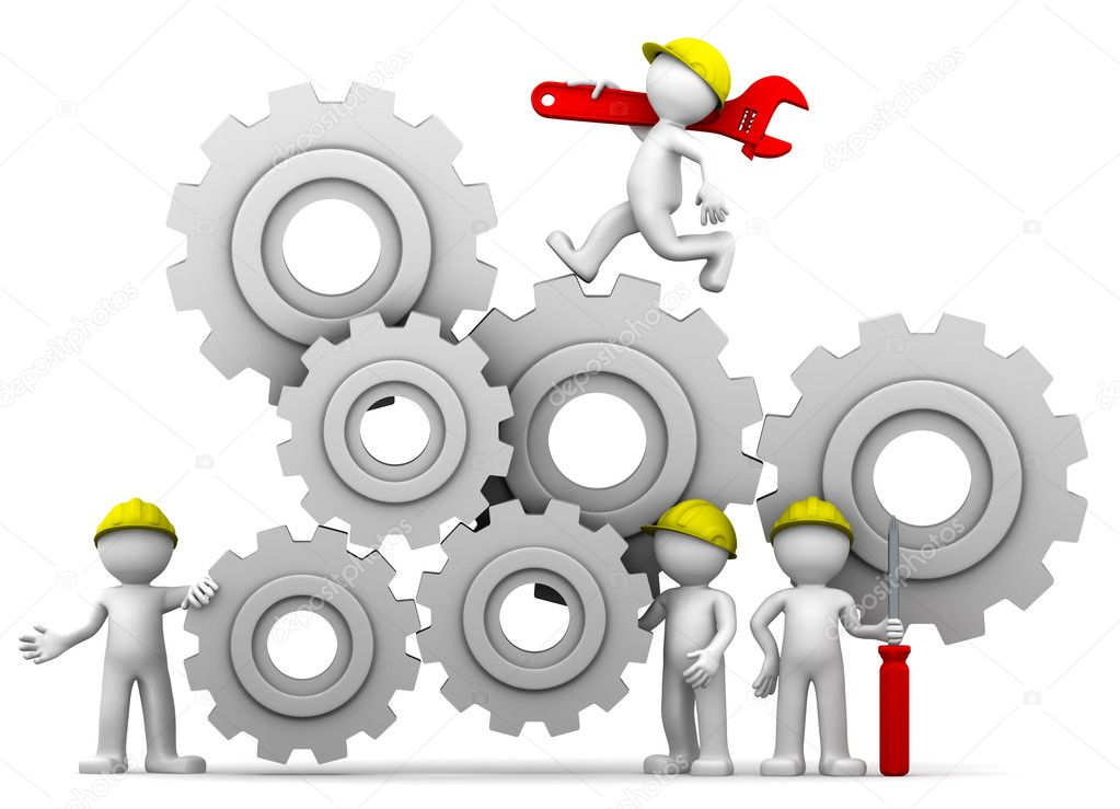 Workers team with gear mechanism