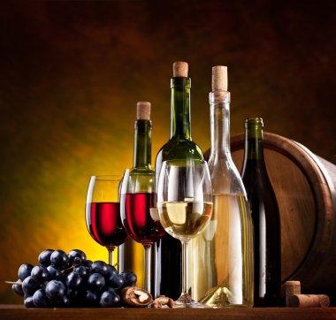Still life with wine bottles