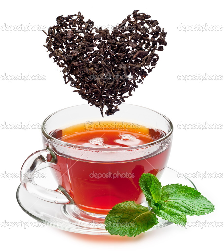 Cup of tea and tea leaves.