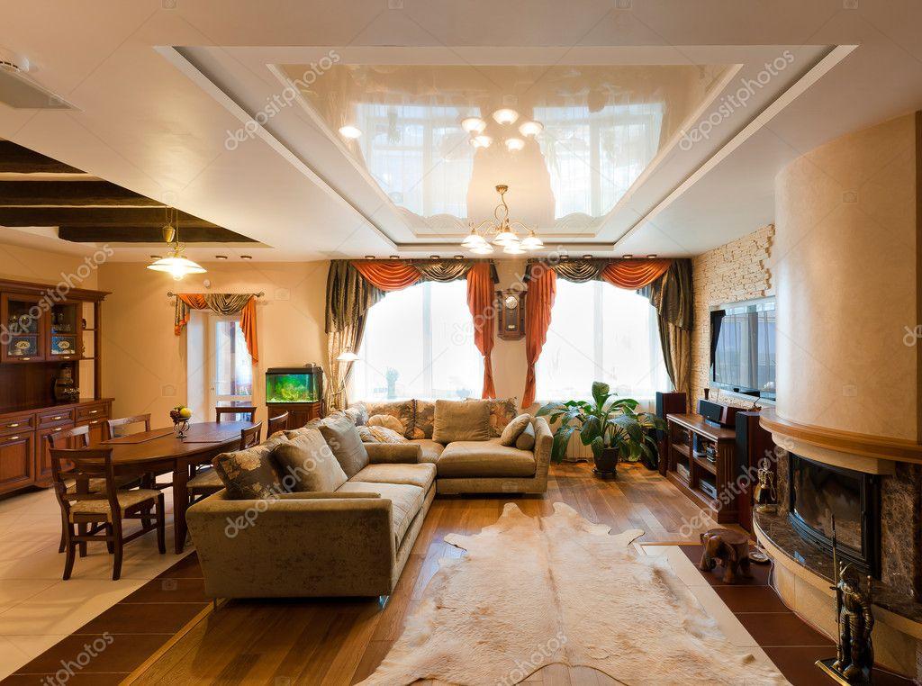 Très beau salon moderne avec canapés douces — Photographie ...