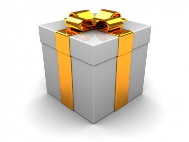 3d illustration of gift box with golden ribbon stock vector