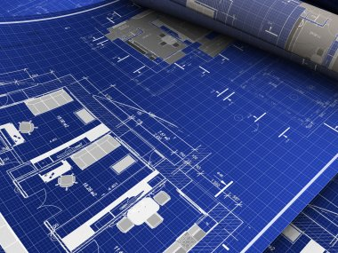 Abstract 3d illustration of blueprints background stock vector