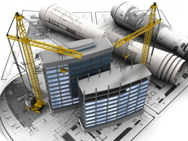 Abstract 3d of building development concept stock vector