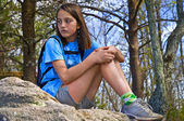 Photo Preteen Girl Sitting Outdoors