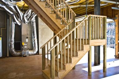 Basement and Garage Interior, Steps and Duct Work