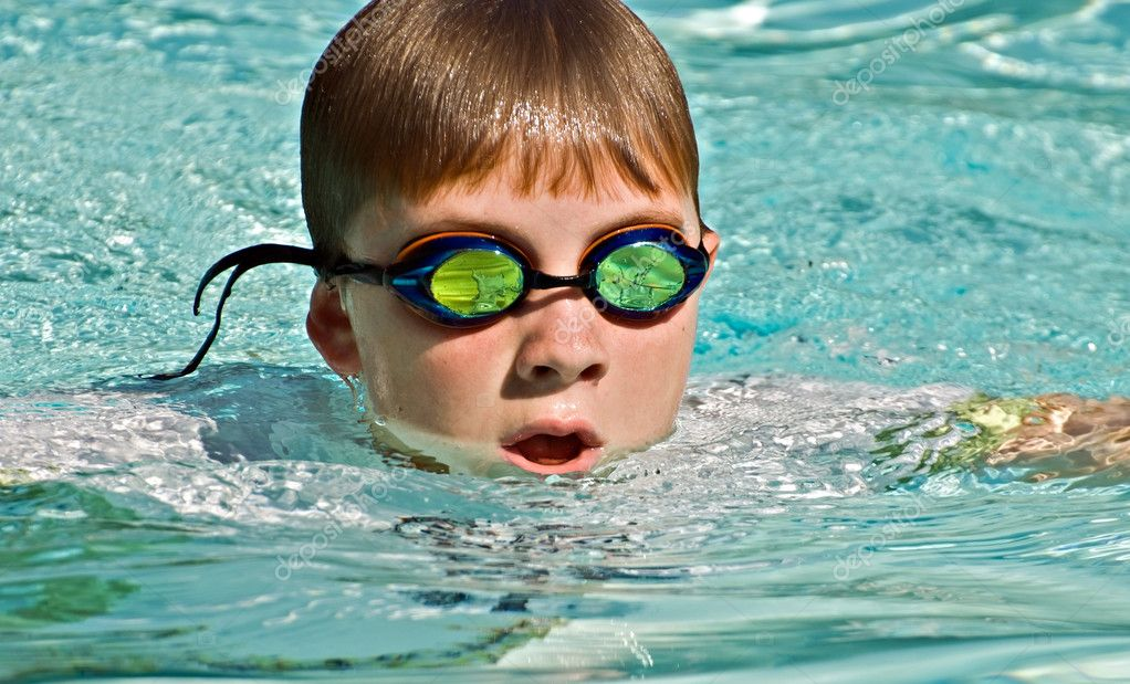 Close up of Boy Swimming