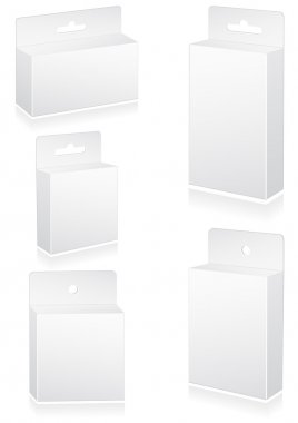 Vector illustration set of blank retail boxes with hang slot.
